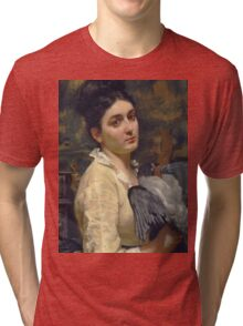 Vintage famous art - Alfred Stevens  - Lady With A Bird 1860 Tri-blend T-Shirt