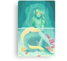 Mermaid and her pet Canvas Print