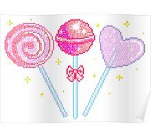 Pink Sparkly Lollipops Poster