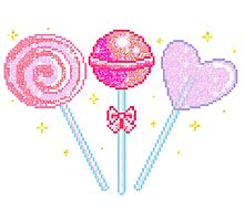 Pink Sparkly Lollipops Photographic Print