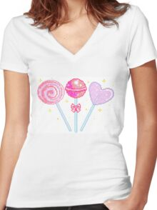 Pink Sparkly Lollipops Women's Fitted V-Neck T-Shirt