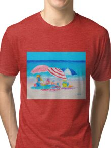 Beach painting - Summer Beach Vacation Tri-blend T-Shirt