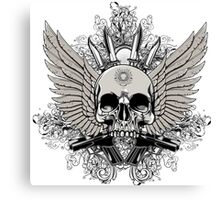 Winged Skull With Guns Canvas Print