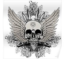 Winged Skull With Guns Poster