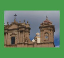 A Well Placed Ray of Sunshine - Noto Cathedral Saint Nicholas of Myra Against a Cloudy Sky Kids Tee