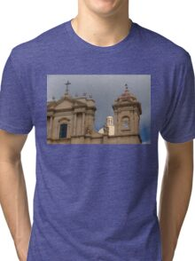 A Well Placed Ray of Sunshine - Noto Cathedral Saint Nicholas of Myra Against a Cloudy Sky Tri-blend T-Shirt