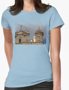 A Well Placed Ray of Sunshine - Noto Cathedral Saint Nicholas of Myra Against a Cloudy Sky Womens Fitted T-Shirt