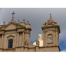 A Well Placed Ray of Sunshine - Noto Cathedral Saint Nicholas of Myra Against a Cloudy Sky Photographic Print