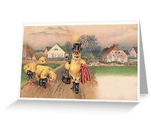Anthropomorphic Chicken Wearing Boots and Top Hat Greeting Card