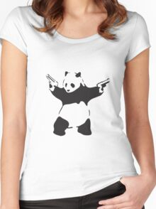 Panda the Gunslinger Women's Fitted Scoop T-Shirt