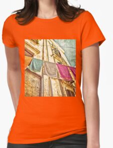Towels Hanging  In Corfu Old Town  Womens Fitted T-Shirt