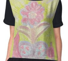 Painted Pastel Plant Chiffon Top