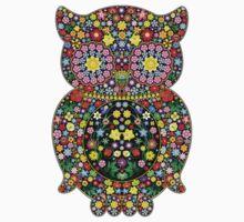 Owl Zentangle Floral One Piece - Short Sleeve