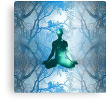 Floating Yogi in the Trees in blue Canvas Print