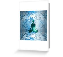 Floating Yogi in the Trees in blue Greeting Card