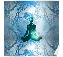 Floating Yogi in the Trees in blue Poster