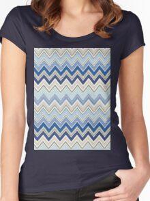 Geometric, Chevron, Tribal, Blue Hue Print Design Women's Fitted Scoop T-Shirt