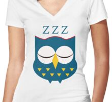 Cute Sleepy Owl Blue Tshirt Tee Women's Fitted V-Neck T-Shirt