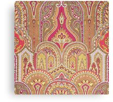 Tribal, Moroccan, Red Orange Brocade Design Canvas Print