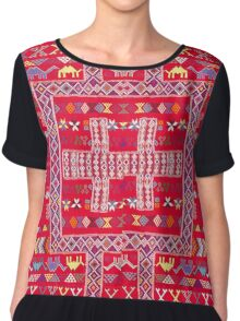 Tribal, Geometric, Bright Orange/Red Tapestry Style Chiffon Top