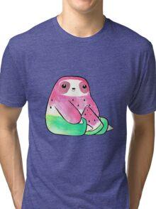 Watermelon Watercolor Sloth Tri-blend T-Shirt