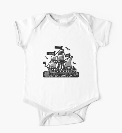 Wooden Ship - woodcut One Piece - Short Sleeve