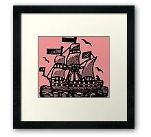 Wooden Ship - woodcut Framed Print