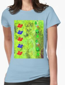 Flowers, Cacti and Aliens montage Womens Fitted T-Shirt