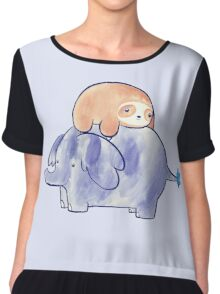 Little Sloth and Elephant Watercolor Chiffon Top