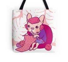 The knitting Frenchie and her scarf Tote Bag