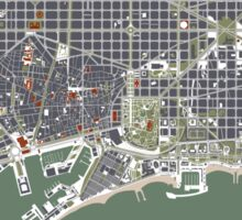 Barcelona city map engraving Sticker