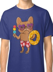 Frenchie at the beach in Summer Classic T-Shirt
