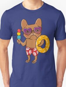 Frenchie at the beach in Summer Unisex T-Shirt