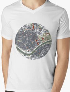Seville city map engraving Mens V-Neck T-Shirt