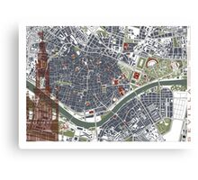 Seville city map engraving Canvas Print
