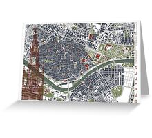 Seville city map engraving Greeting Card