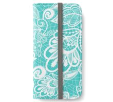 Flower Lace Turquoise iPhone Wallet/Case/Skin