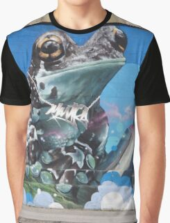 Cool Teal Brown Frog With Spraying Cans Graphic T-Shirt