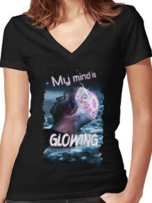 My Mind Is Glowing (Poster & T-Shirt Variation) Women's Fitted V-Neck T-Shirt
