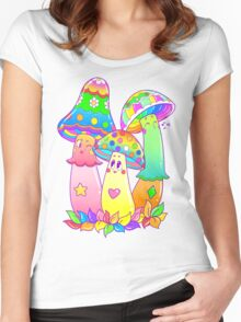 Colorful Mushroom Friends Women's Fitted Scoop T-Shirt