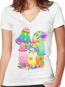 Colorful Mushroom Friends Women's Fitted V-Neck T-Shirt
