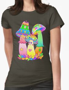 Colorful Mushroom Friends Womens Fitted T-Shirt