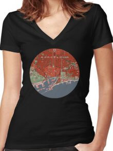 Barcelona city map classic Women's Fitted V-Neck T-Shirt