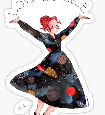 Miss Frizzle loves science Sticker