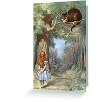 Vintage famous art - Alice In Wonderland - The Cheshire Cat Greeting Card