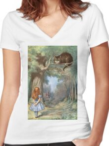 Vintage famous art - Alice In Wonderland - The Cheshire Cat Women's Fitted V-Neck T-Shirt