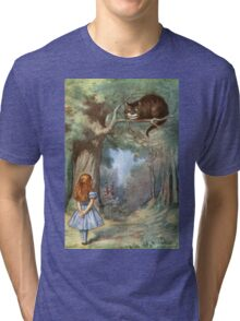 Vintage famous art - Alice In Wonderland - The Cheshire Cat Tri-blend T-Shirt