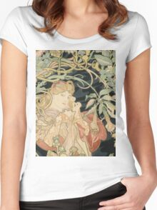Alphonse Mucha - Woman In La Marguerite 1899  Garden,woman, love, dress,  birthday, fashion, spring, summer, peonies, pink,  beauty Women's Fitted Scoop T-Shirt