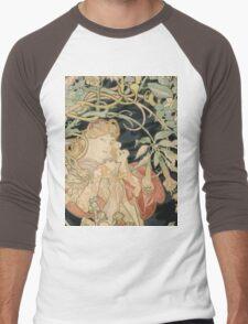 Alphonse Mucha - Woman In La Marguerite 1899  Garden,woman, love, dress,  birthday, fashion, spring, summer, peonies, pink,  beauty Men's Baseball ¾ T-Shirt