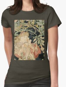 Alphonse Mucha - Woman In La Marguerite 1899  Garden,woman, love, dress,  birthday, fashion, spring, summer, peonies, pink,  beauty Womens Fitted T-Shirt